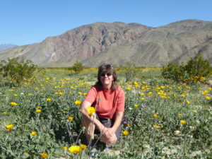 Linda in field of sunflowers Anza Borrego